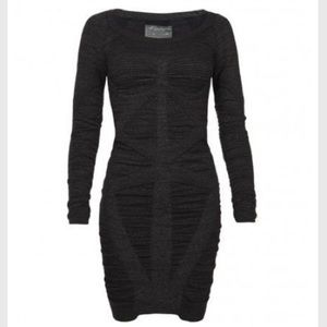 All Saints black Vikrama metallic bodycon dress